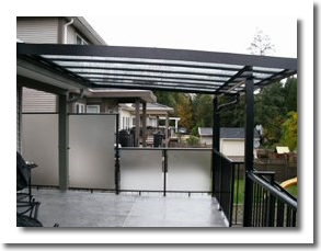 Glass deck cover with aluminum railing system